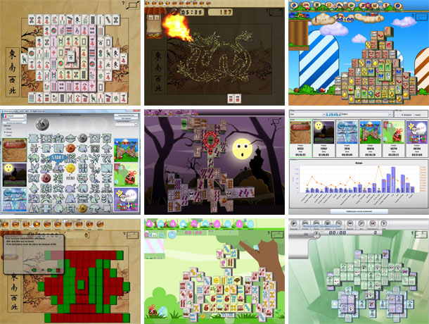 Layout screenshots from the game Mahjong In Poculis